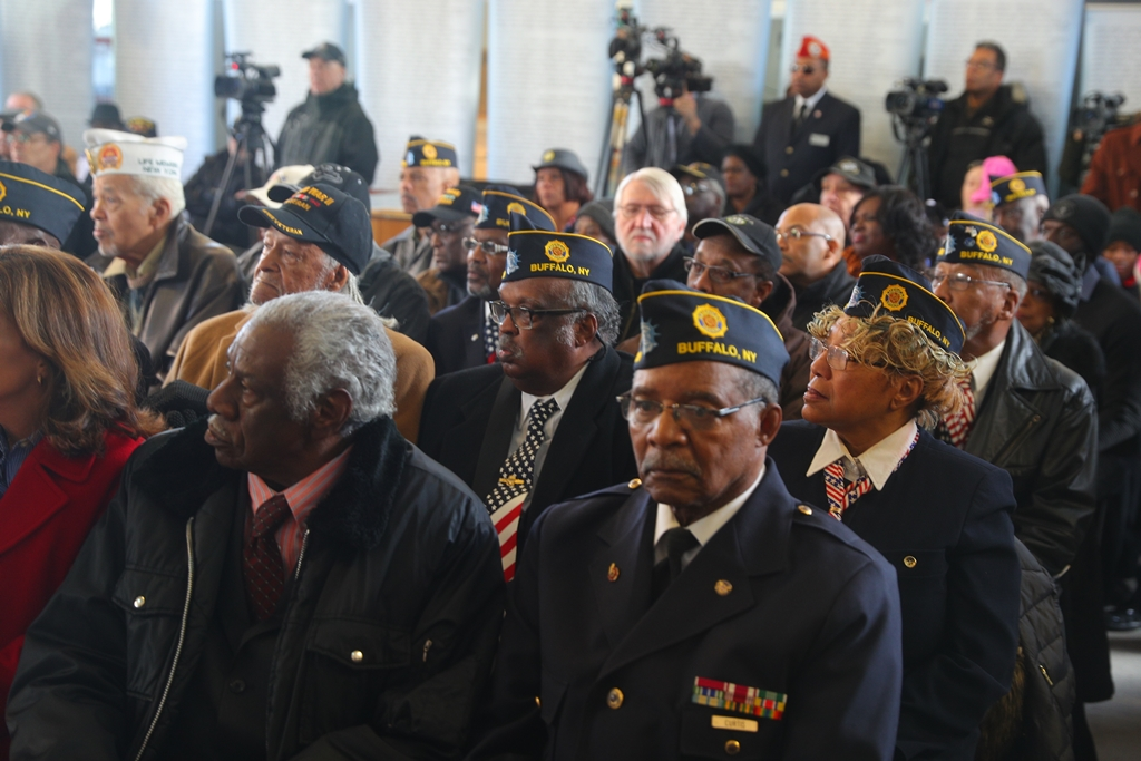 Members of the African American community and veterans gathered as Assemblywoman Crystal Peoples-Stokes officially announced plans for a $700,000 African American Veterans Monument at the Buffalo and Erie County Naval & Military Park  Saturday. (John Hickey/Buffalo News)