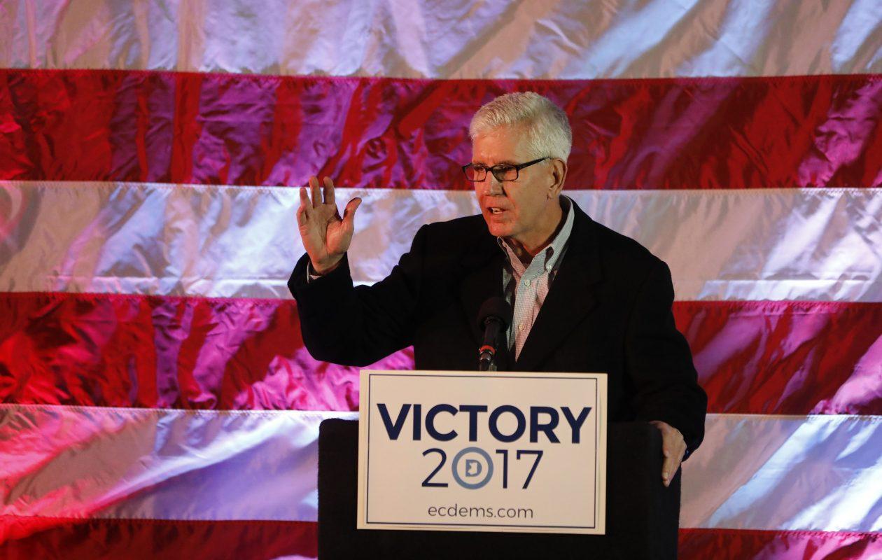 Erie County Legislator Thomas Loughran celebrates his reelection at Statler City on Tuesday, Nov. 7, 2017.  (Derek Gee/Buffalo News)