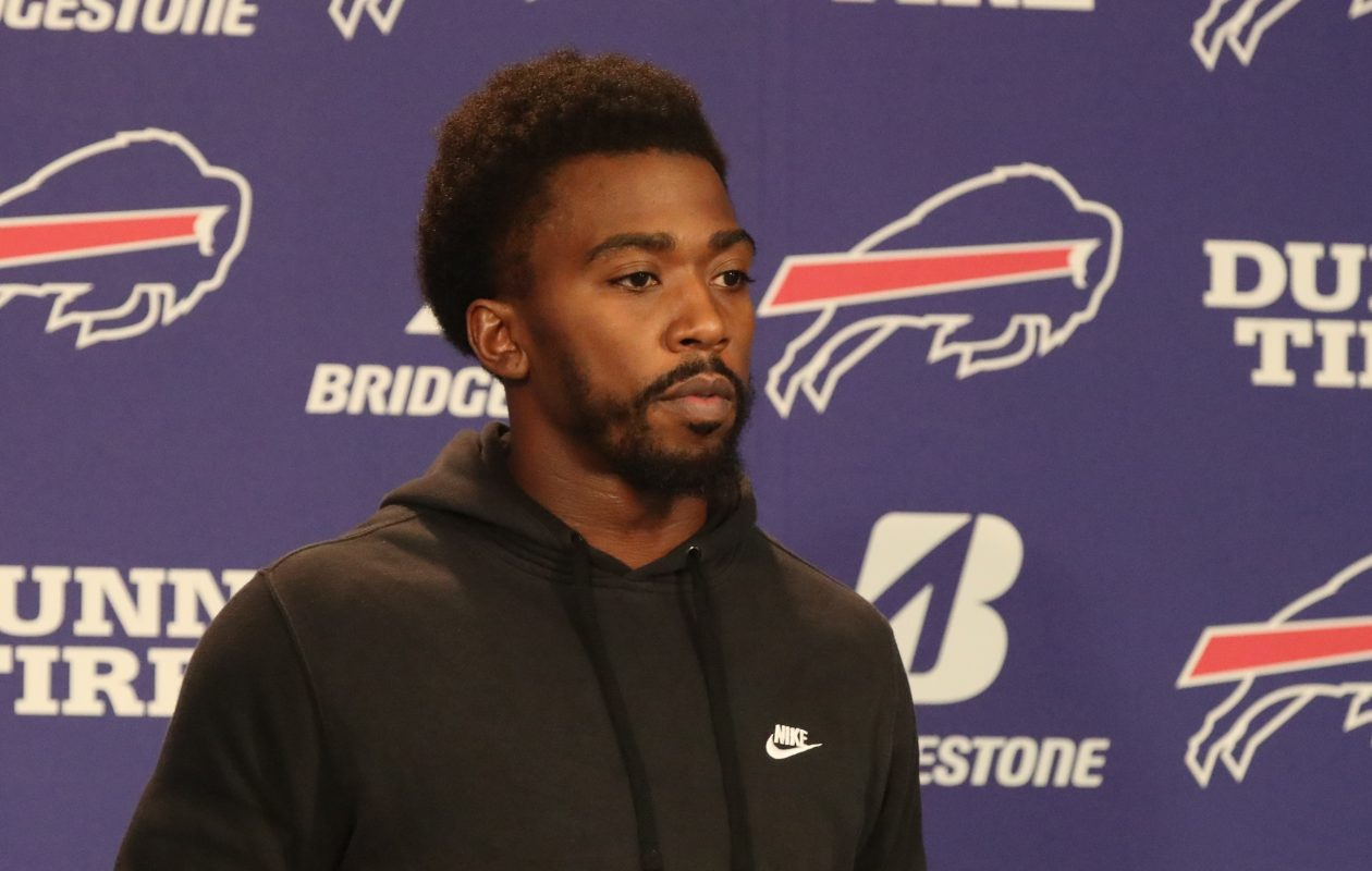 Buffalo Bills quarterback Tyrod Taylor speaks to the media on Wednesday, Nov. 8, 2017. (James P. McCoy/Buffalo News)