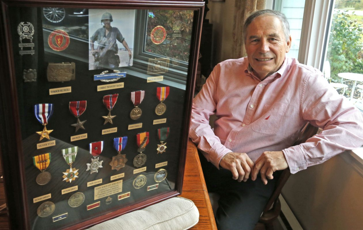 Jose Olea won the silver star and bronze star for valor when he served as a staff sergeant in Charlie Co., Army 4th Battalion, 9th Infantry Regiment in Vietnam. (Robert Kirkham/Buffalo News)