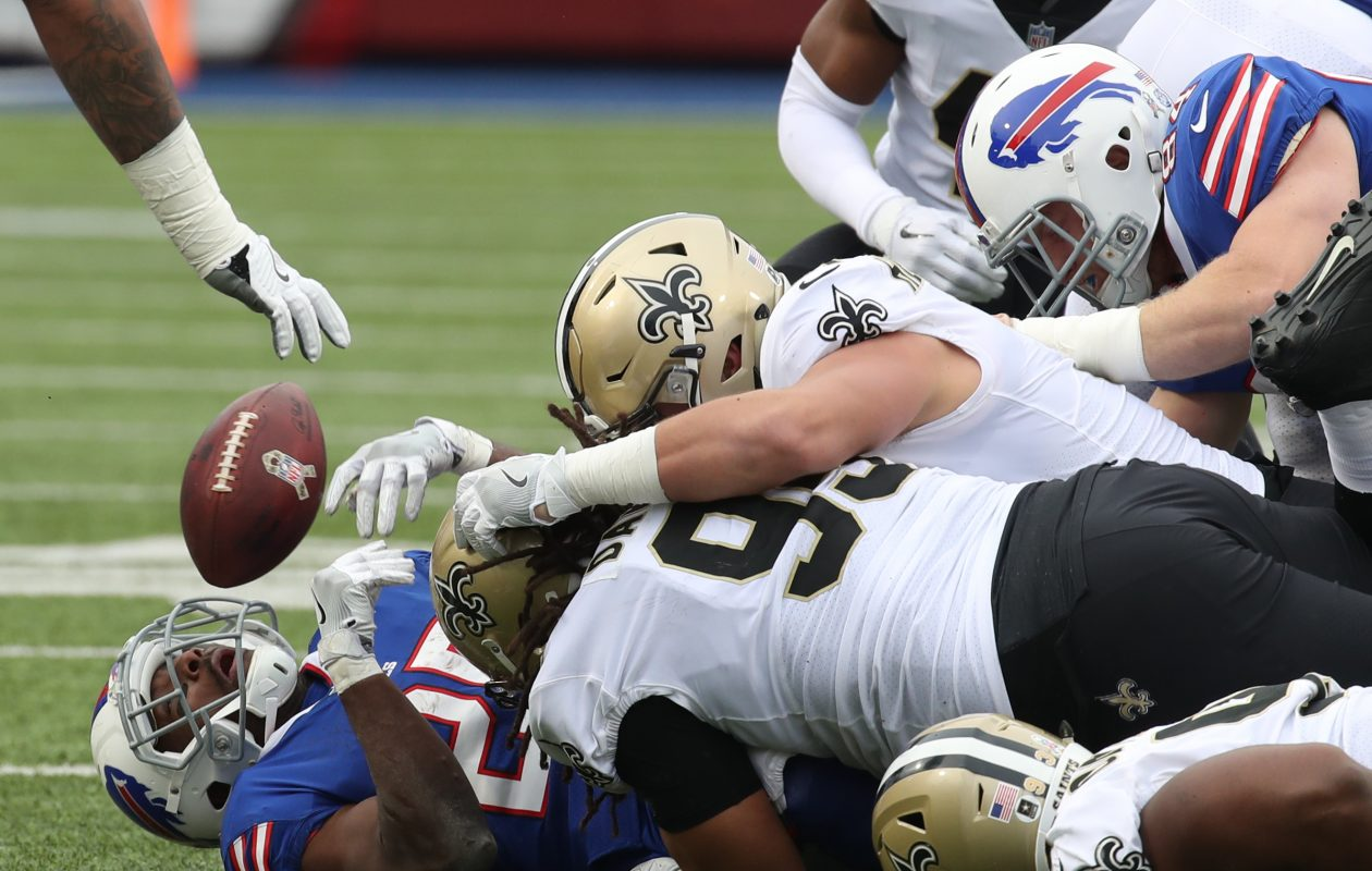 Buffalo Bills running back LeSean McCoy (25) fumbles in the second quarter. (James P. McCoy/Buffalo News)