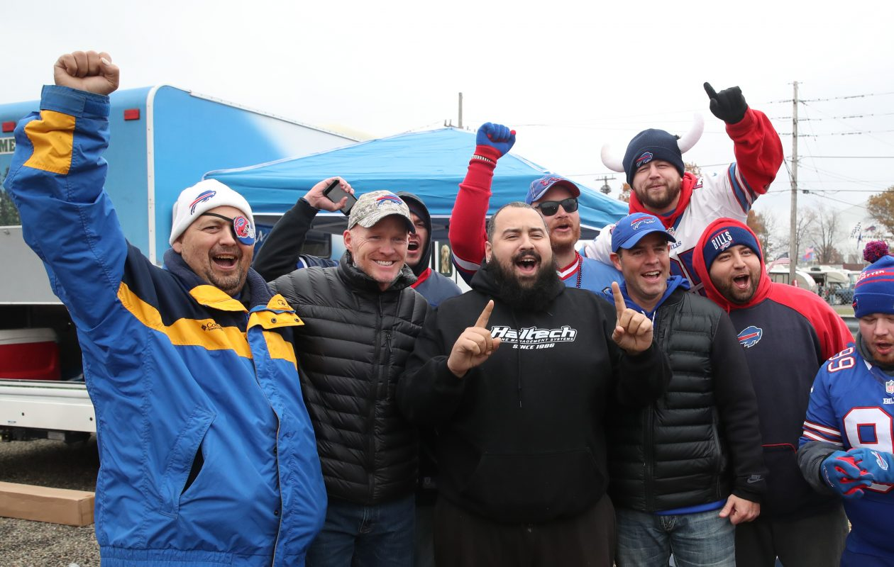 Buffalo Bills head coach Sean McDermott and general manager Brandon Beane surprised fans in the parking lot long before the game started at New Era Field in Orchard Park on Sunday, Nov. 12, 2017.  (James P. McCoy/Buffalo News)