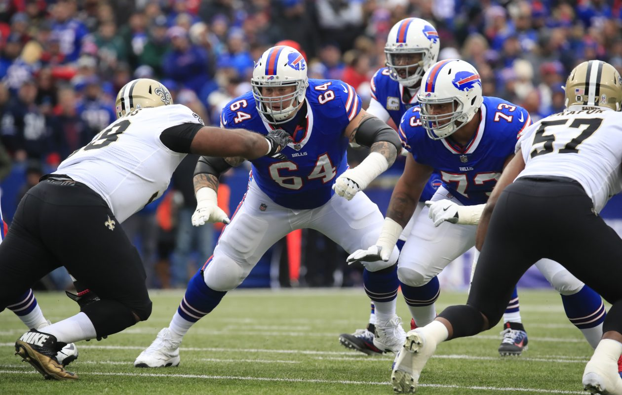 Buffalo Bills Richie Incognito and Dion Dawkins block against the New Orleans Saints during the first quarter. (Harry Scull Jr./Buffalo News)
