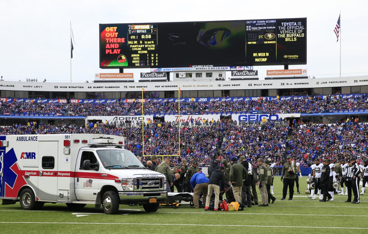 An ambulance waits to take New Orleans Saints Daniel Lasco to the hospital. (Harry Scull Jr./Buffalo News)