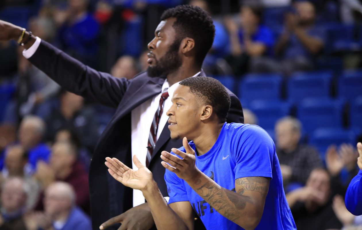 University at Buffalo guard Wes Clark cheers on his team from the bench against Jacksonville State during second half action at Alumni Arena on Wednesday, Nov. 15, 2017. (Harry Scull Jr./Buffalo News)
