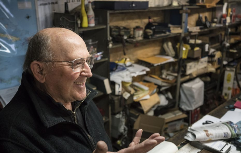 Don Martin, who will be 82 in January, has spent his life running the Niagara Falls service station his father founded in 1931.  But Martin is also an avid reader and devotee of the arts. (Derek Gee/Buffalo News)