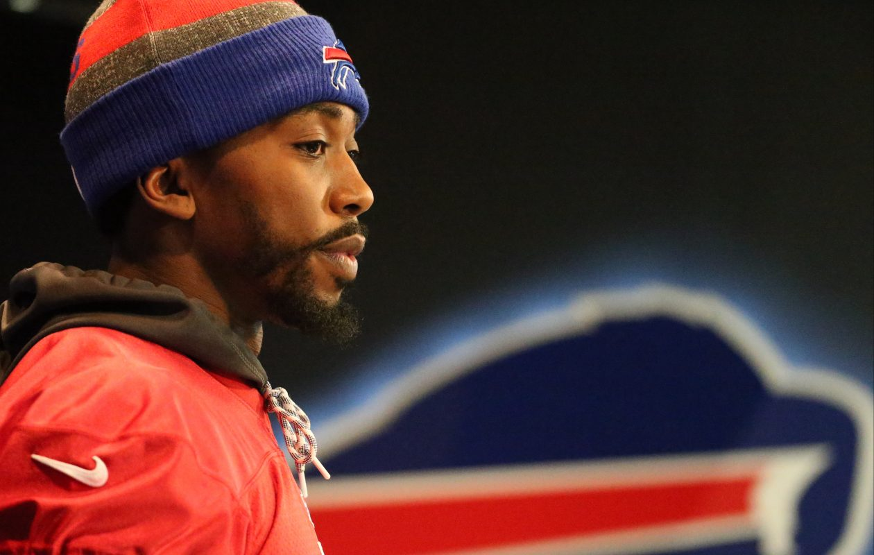 Buffalo Bills quarterback Tyrod Taylor (5) talks to the media about being benched by Buffalo Bills head coach Sean McDermott at ADPRO Sports Training Center in Orchard Park,N.Y. on Wednesday, Nov. 15, 2017.  (James P. McCoy / Buffalo News)