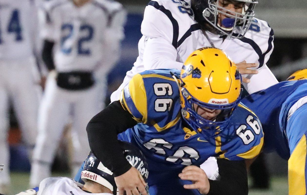West Seneca West two-way lineman Vinny Draper is among several members of the team who will be playing his final scholastic game when the Indians play for the state Class A championship Friday afternoon at the Carrier Dome in Syracuse.  (James P. McCoy / Buffalo News)