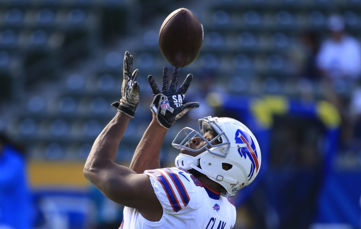 Former Buffalo Bills tight end Charles Clay catches a ball in pregame prior to playing the Los Angeles Chargers at the StubHub Center in 2017. Clay was released by the Bills in February. (Harry Scull Jr./Buffalo News)