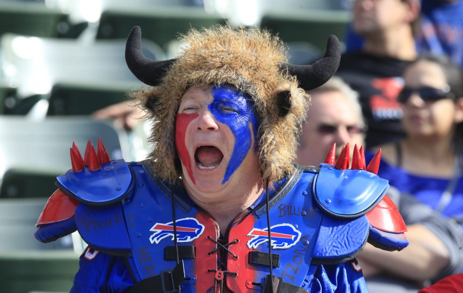 A Bills fan cheers on his team against the Los Angeles Chargers during the first quarter of what turned out to be a blowout loss. (Harry Scull Jr./News file photo)