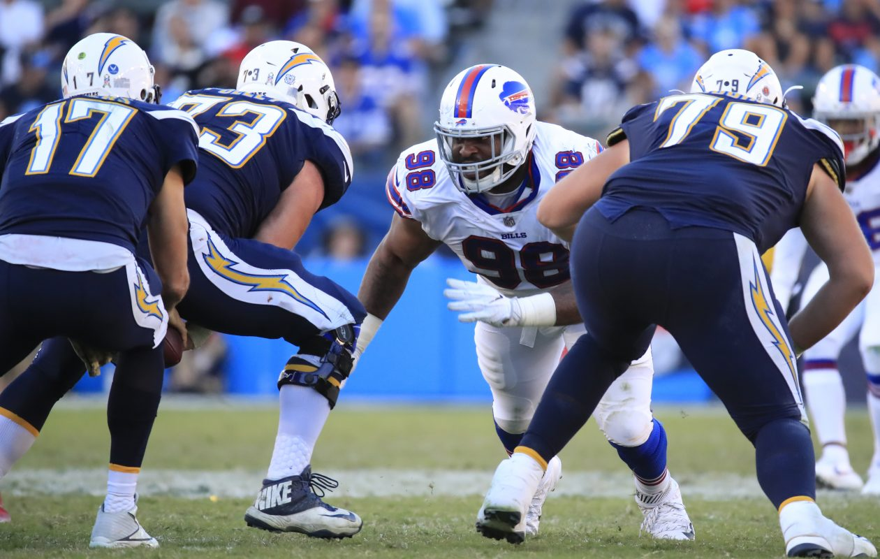 Buffalo Bills' Deandre Coleman faces off against the Los Angeles Chargers. (Harry Scull Jr./Buffalo News)
