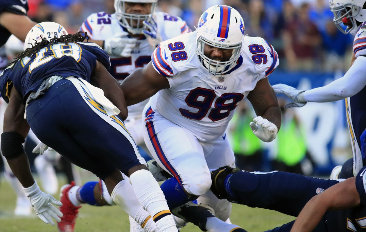 Deandre Coleman's poor effort against New England may have led to his release before Buffalo's season finale in Miami on Sunday. (Harry Scull Jr./Buffalo News)