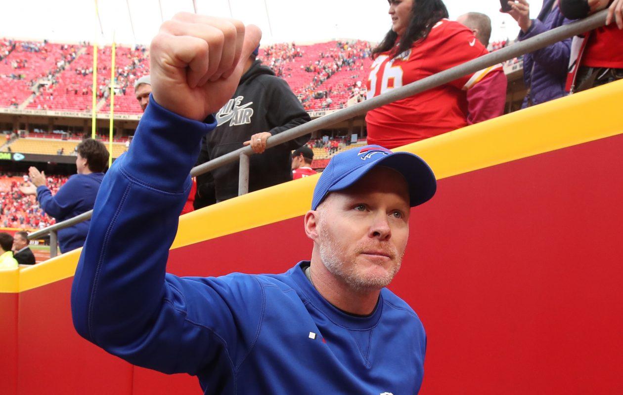 Buffalo Bills head coach Sean McDermott got a big win after putting Tyrod Taylor back at quarterback. (James P. McCoy / Buffalo News)