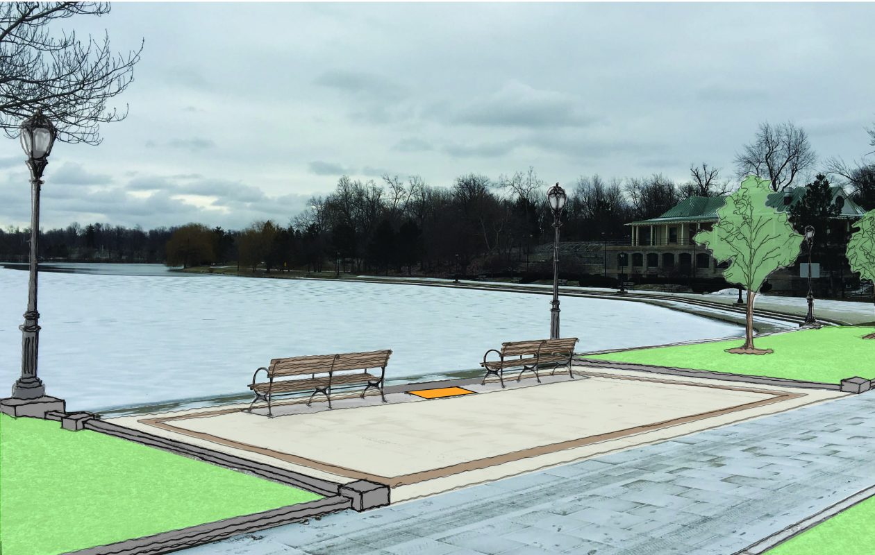 An artist's rendering shows the area along Hoyt Lake where the commemorative project will occur.