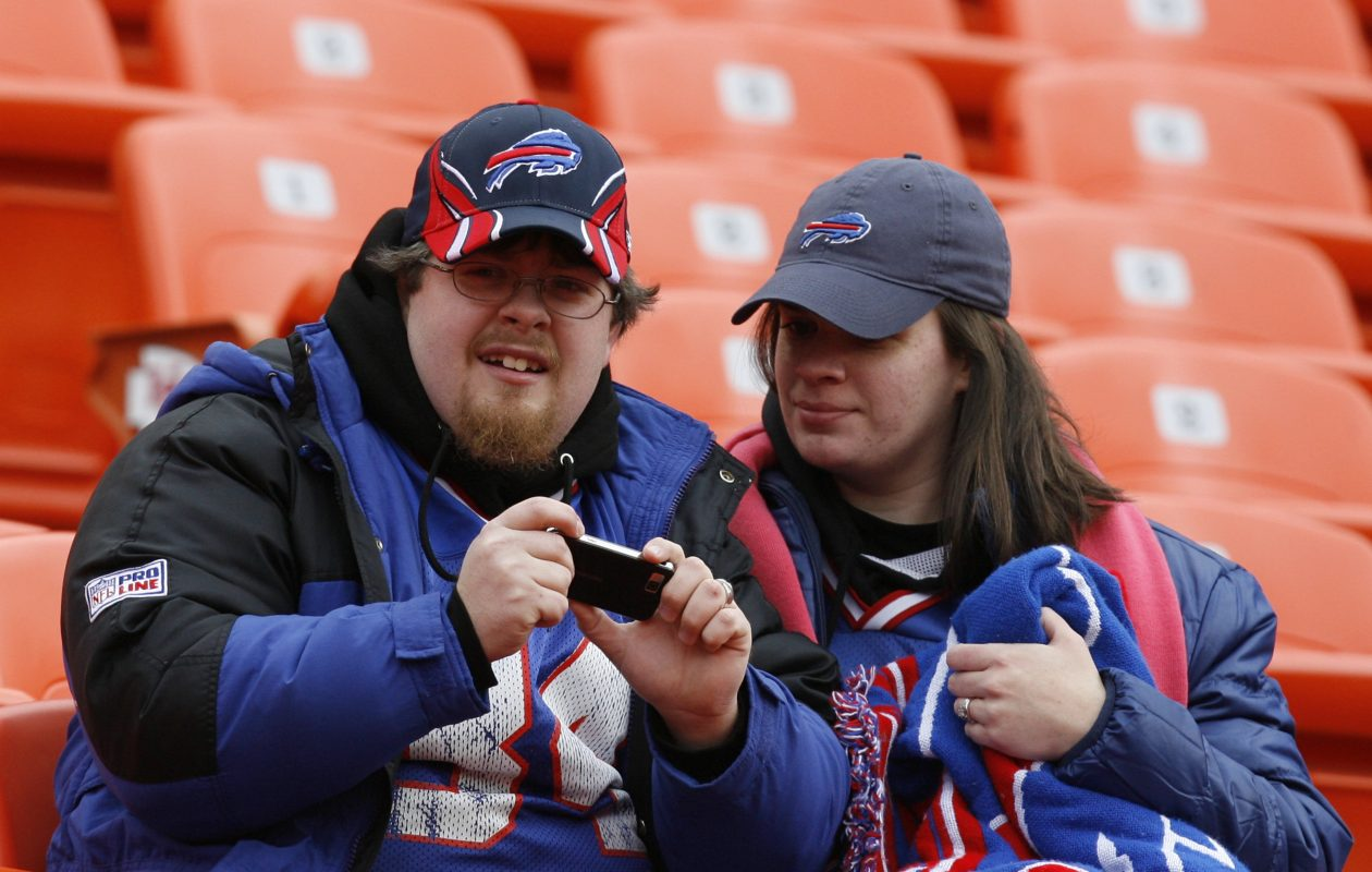 Bills fans at Arrowhead Stadium in Kansas City in this News file photo. Forecast calls for temperatures of 60-63 for gametime. (Buffalo News file photo)