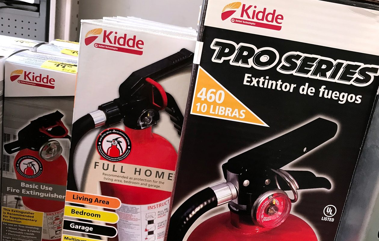 Kidde fire extinguishers are displayed on a shelf at a Home Depot store on Nov. 2, 2017, in San Rafael, Calif. According to the U.S. Consumer Product Safety Commission, Kidde is recalling nearly 40 million fire extinguishers that could have a faulty plastic handle. (Getty Images)