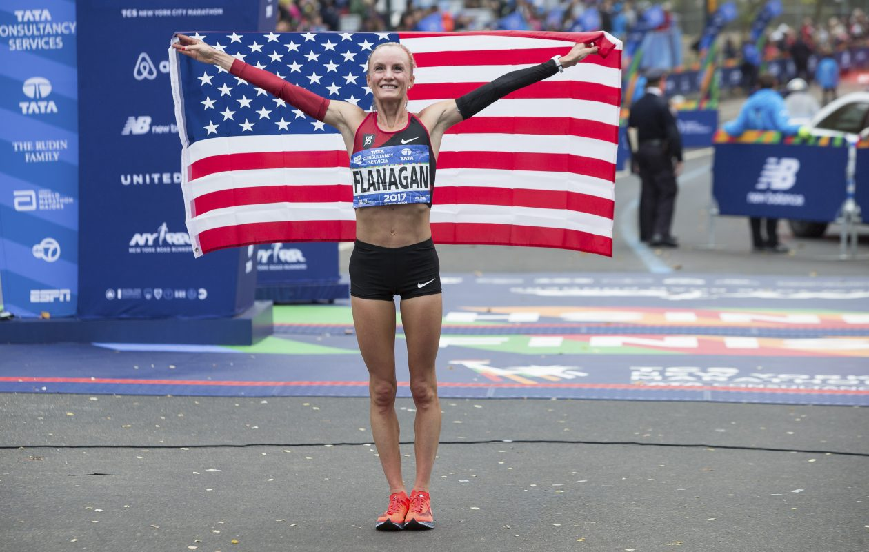 Shalane Flanagan of the United States celebrates  in Central Park after winning the women's race of the 2017 New York City Marathon, Nov. 5, 2017. Flanagan, who missed the Boston Marathon this year with a fractured back, won the New York City Marathon on Sunday in 2 hours 26 minutes 53 seconds.  (Uli Seit/New York Times)