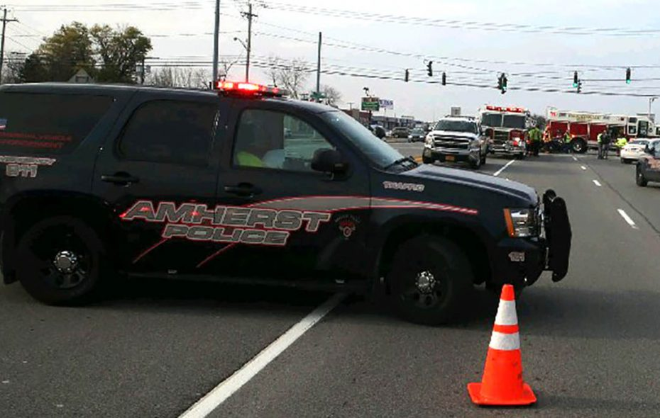 Construction worker injured in two-car crash in Amherst