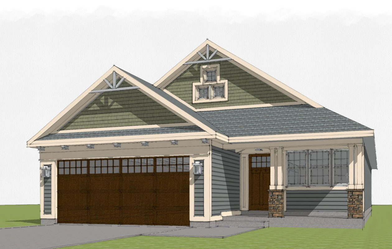 One of four designs of Aurora Mills patio home subdivision to be built in Aurora.