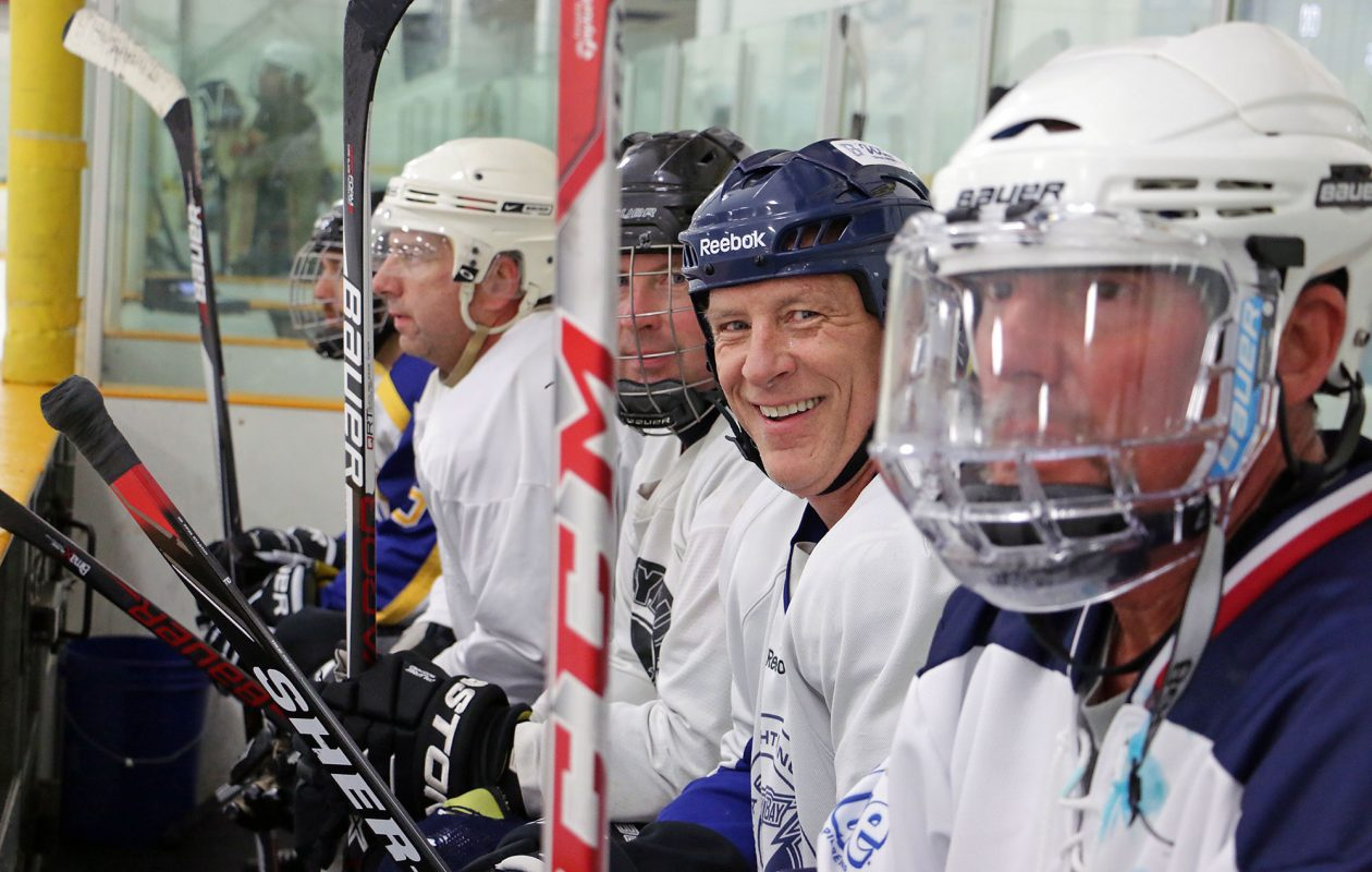 Top. Allan Davis, 62, still plays hockey three times a week, and was the oldest player in last summer's world-record breaking 11-Day Power Play tournament. (Dave Jarosz)