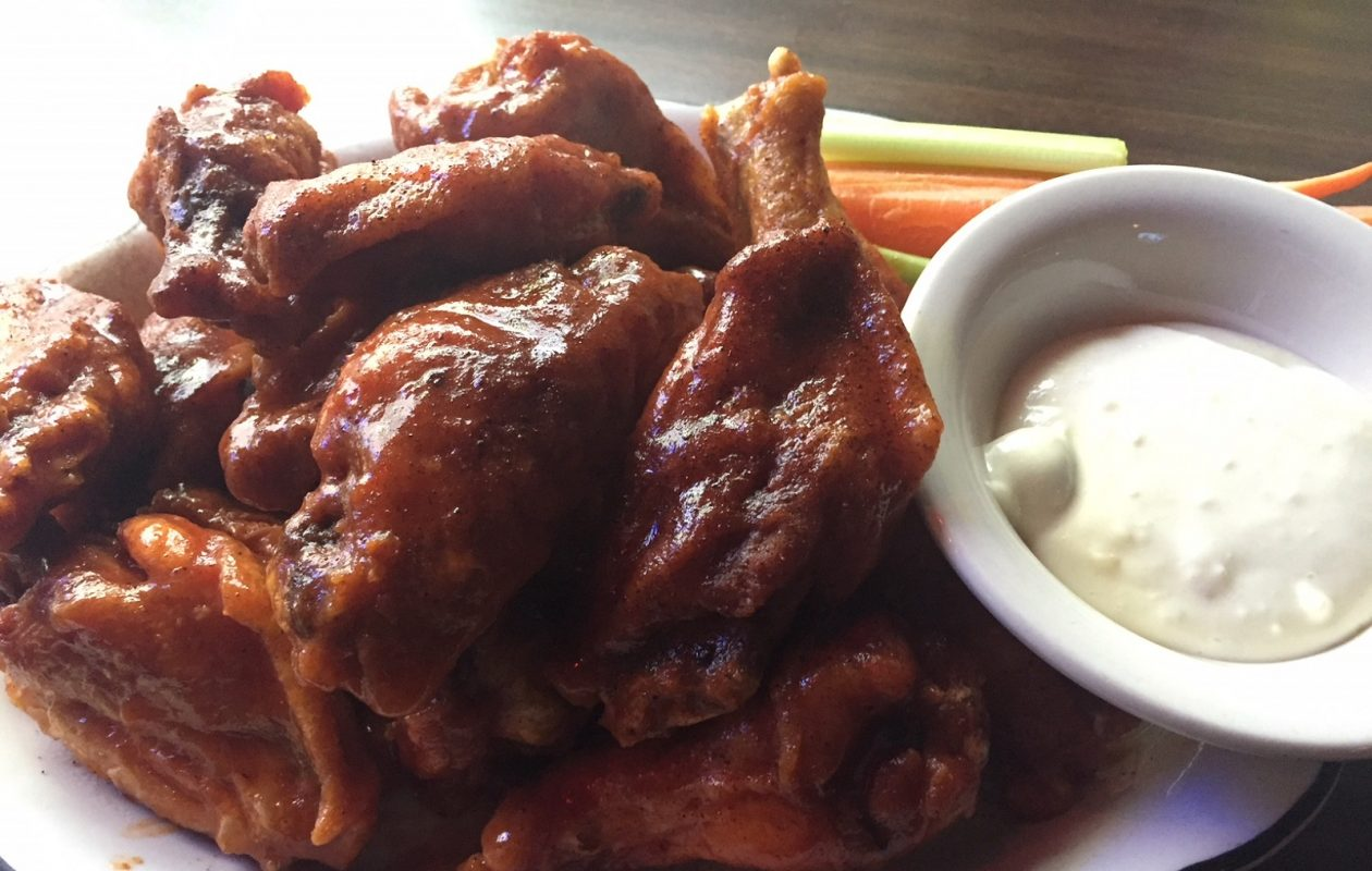 Wings with a hint of barbecue and homemade blue cheese are a hit at the Meadowbrook. (Elizabeth Carey/Special to The News.)