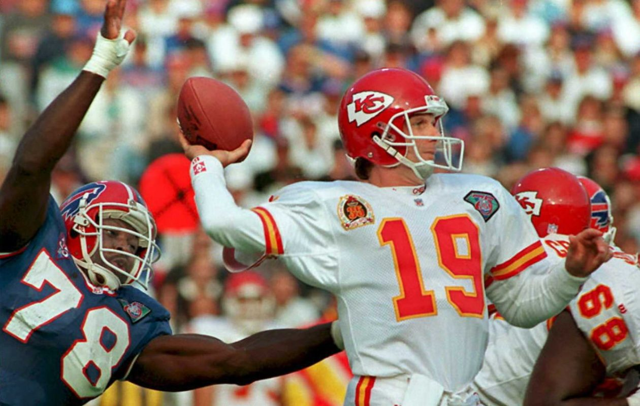 In Bills-Chiefs matchups, Hall of Famer Bruce Smith has the lead with 5.0 sacks. (Jeff Haynes/AFP/Getty Images)