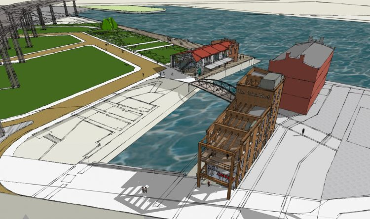 The Union Block building, in the foreground, will be built across the Whipple bridge from the Pavilion and next to the existing Buffalo & Erie County Naval and Military Park.