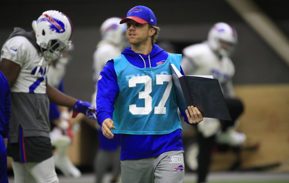 Buffalo Bills offensive assistant Chad Hall during practice at the ADPRO training Center on Friday, Nov. 17, 2017. (Harry Scull Jr./News file photo)