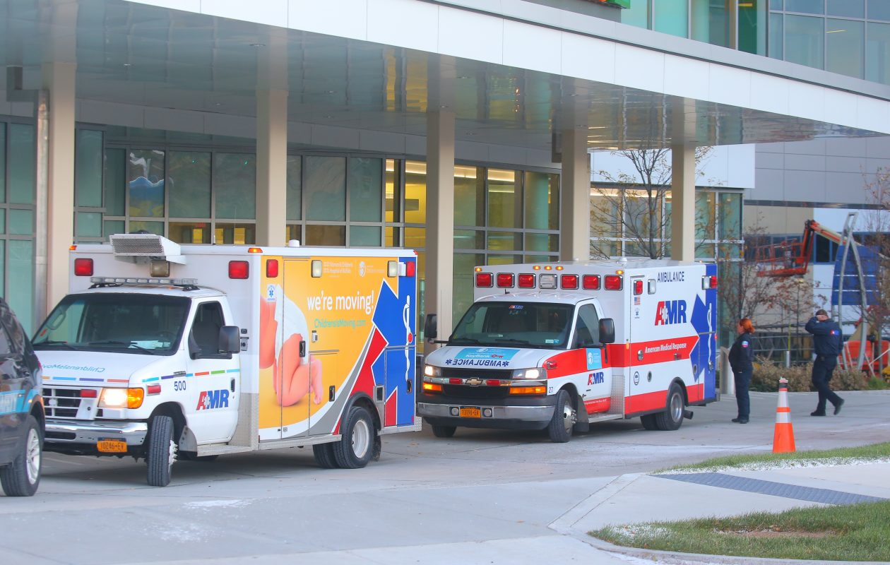 The first  ambulances arrive with patients  from Women & Children's Hospital at the new John R. Oishei Children's Hospital at the Buffalo Niagara Medical Campus on Friday, Nov. 10, 2017.  (John Hickey/Buffalo News)
