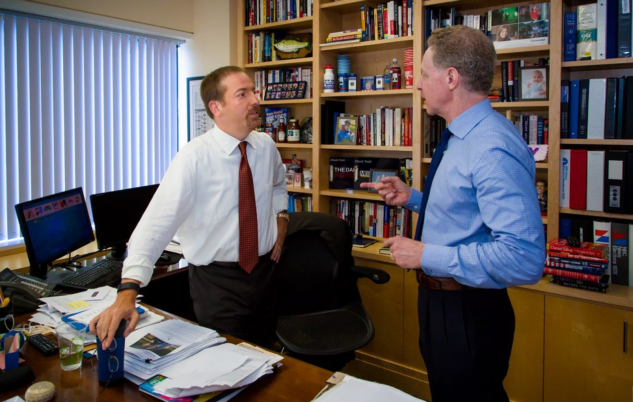 Meet the Press moderator Chuck Todd with Executive Producer - and UB grad - John Reiss. (Photo courtesy of Pete Williams/NBC)