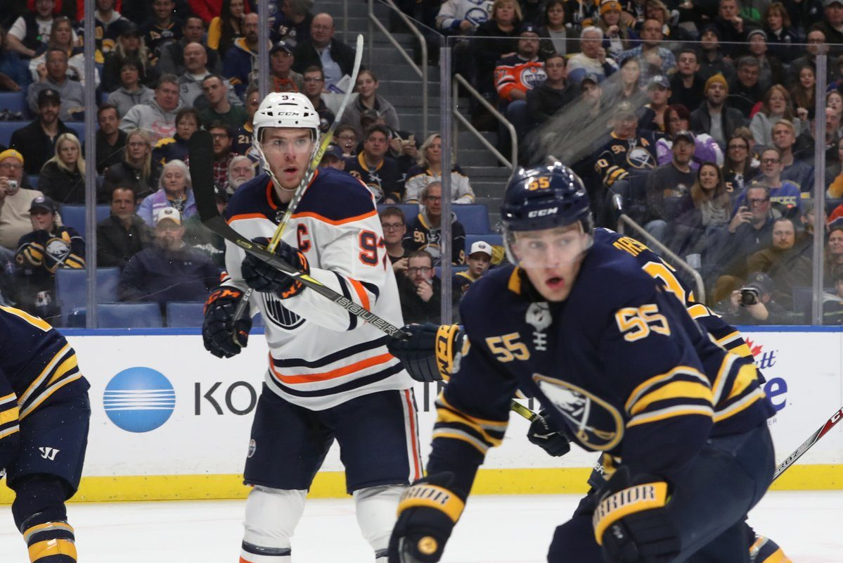 Sabres defenseman Rasmus Ristolainen (55), who returned from injury to play for the first time since Nov. 2, looks to block the pass to Edmonton captain Connor McDavid (Sharon Cantillon/Buffalo News).