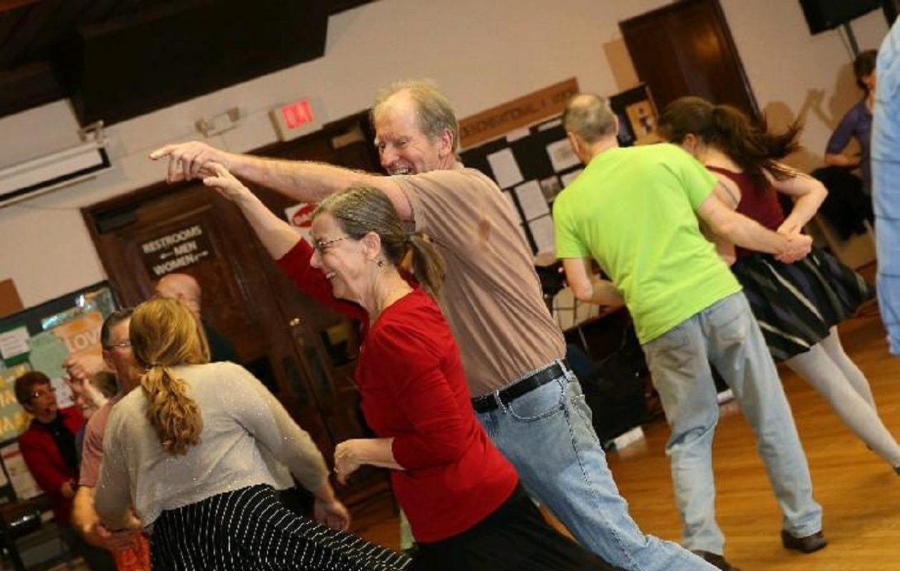 Contra dancing takes place at 8 p.m. the first and third Saturday of each month at the Unitarian Universalist Church, Elmwood Avenue at West Ferry Street.