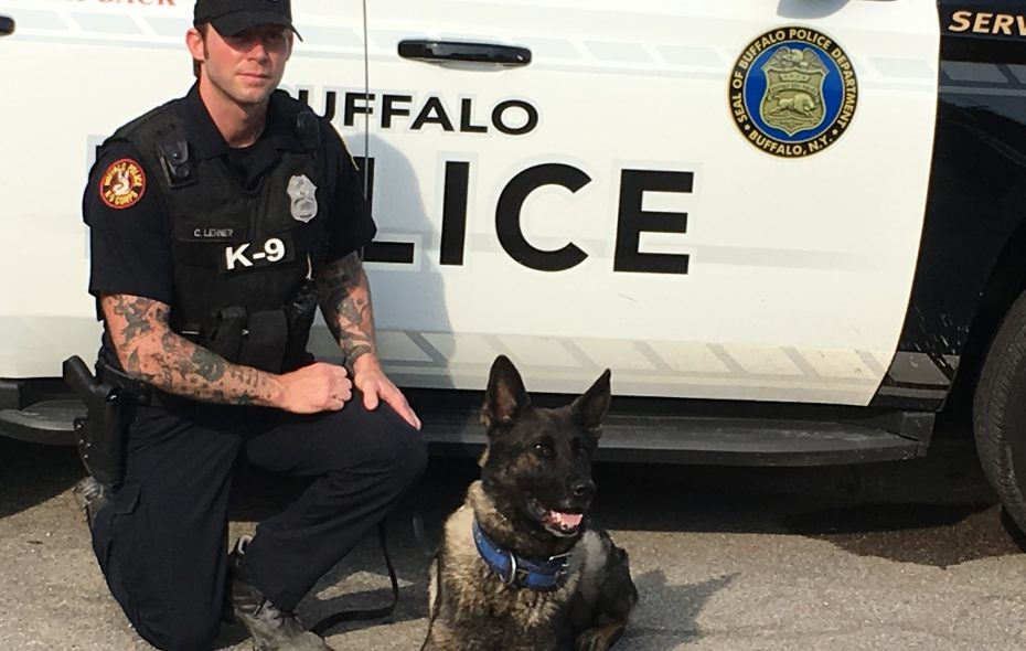 Buffalo Police Officer Craig Lehner and his K-9 partner, Shield. (Photo courtesy of Buffalo Police  Lt. Salvatore Losi)