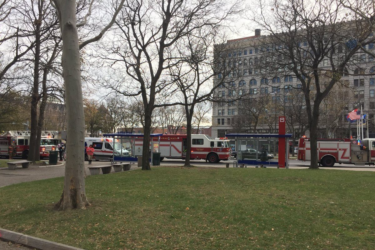 Buffalo police and firefighters respond to report of 'suspicious package' at Main Place Tower Friday. (Maki Becker/Buffalo News)