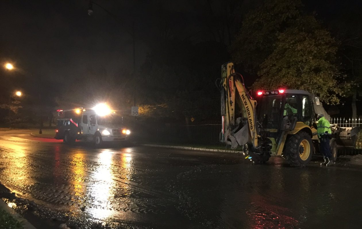 Crews are working on a water main break on northbound Delaware Avenue near Forest Avenue. (Maki Becker/Buffalo News)