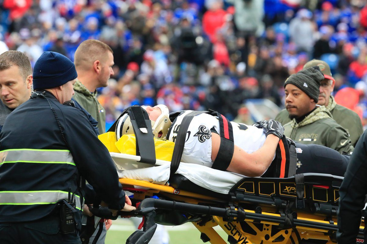 Daniel Lasco leaves the field on a stretcher. (Harry Scull Jr./Buffalo News)