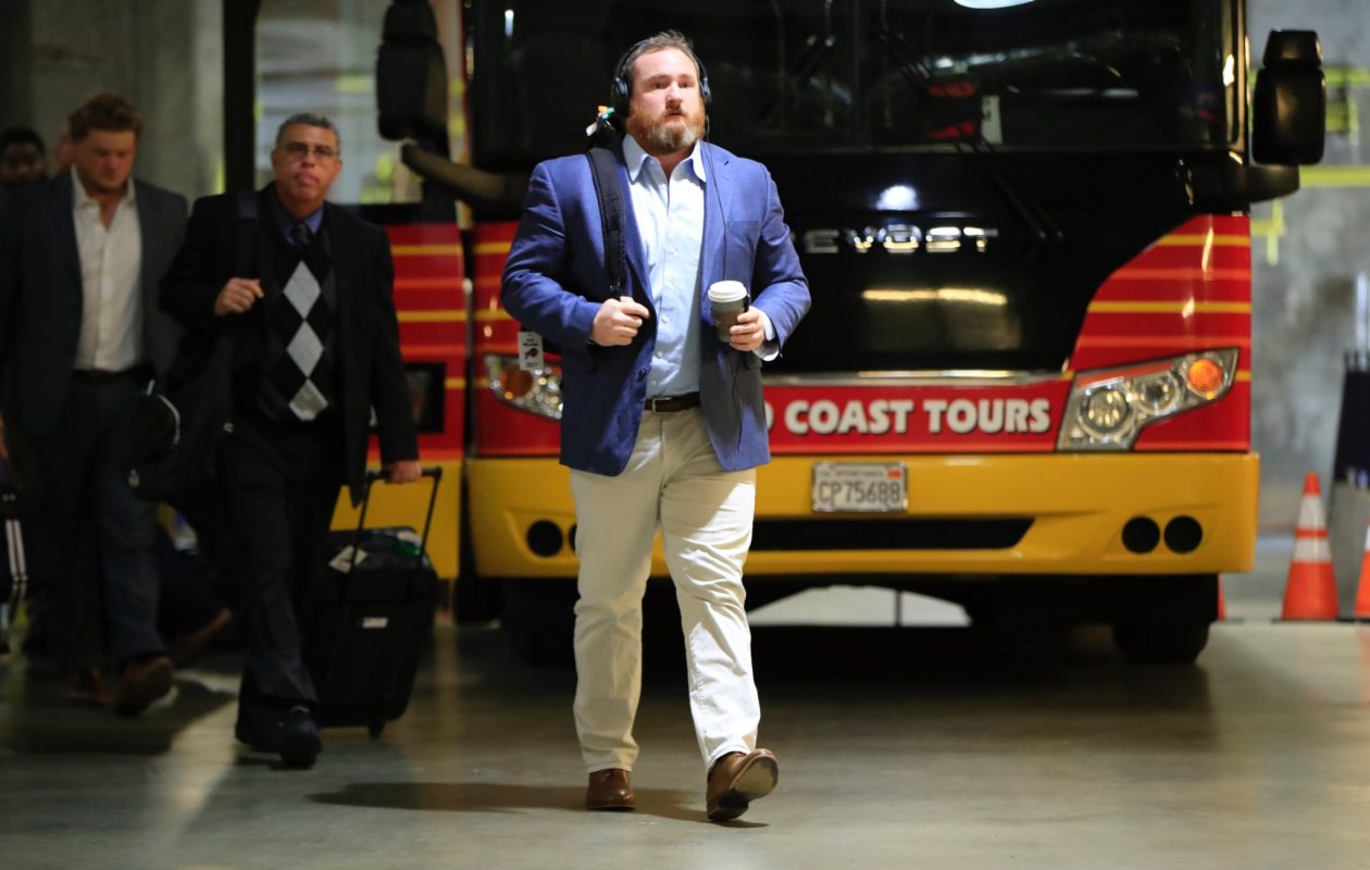 Bills defensive tackle Kyle Williams gets off the bus at the StubHub Center to play the Chargers in November 2017. (Harry Scull Jr./Buffalo News)
