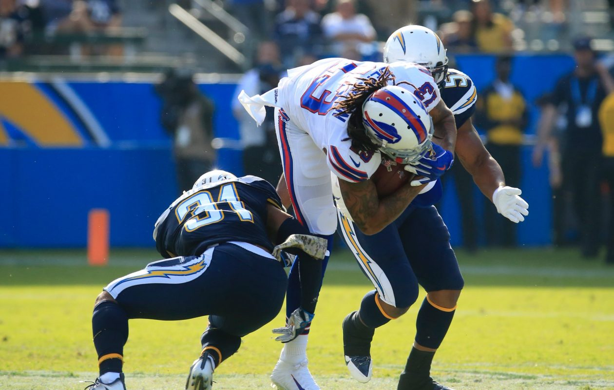 Bills receiver Kelvin Benjamin suffered a torn meniscus in his right knee on this hit against the LA Chargers in Week 11. (Harry Scull Jr./Buffalo News)