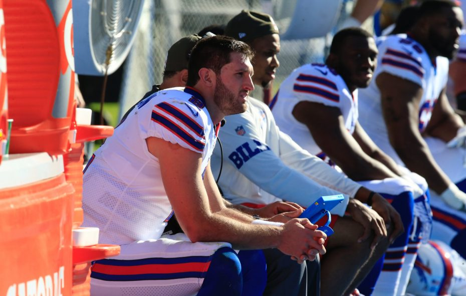 Buffalo Bills quarterback Nathan Peterman looks on from the bench against the Los Angeles Chargers in 2017. (Harry Scull Jr./Buffalo News)