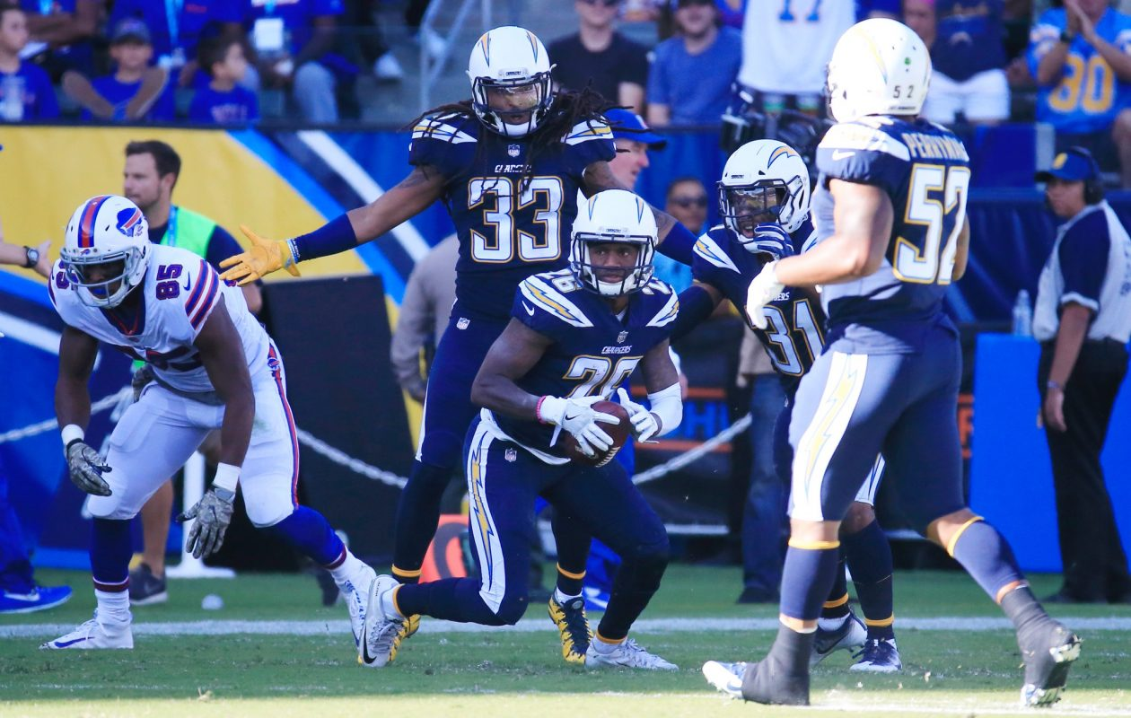 Los Angeles Chargers' Casey Hayward gets an interception. (Harry Scull Jr./Buffalo News)