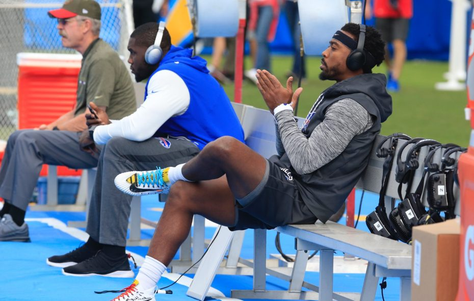 Bills quarterback Tyrod Taylor sits on the bench prior to playing the Los Angeles Chargers. (Harry Scull Jr./News file photo)