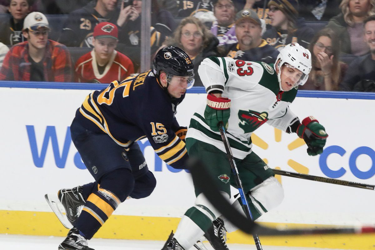 Jack Eichel and the Sabres fell behind Tyler Ennis and the Wild with 3-1 and 5-2 deficits. (James P. McCoy/Buffalo News)