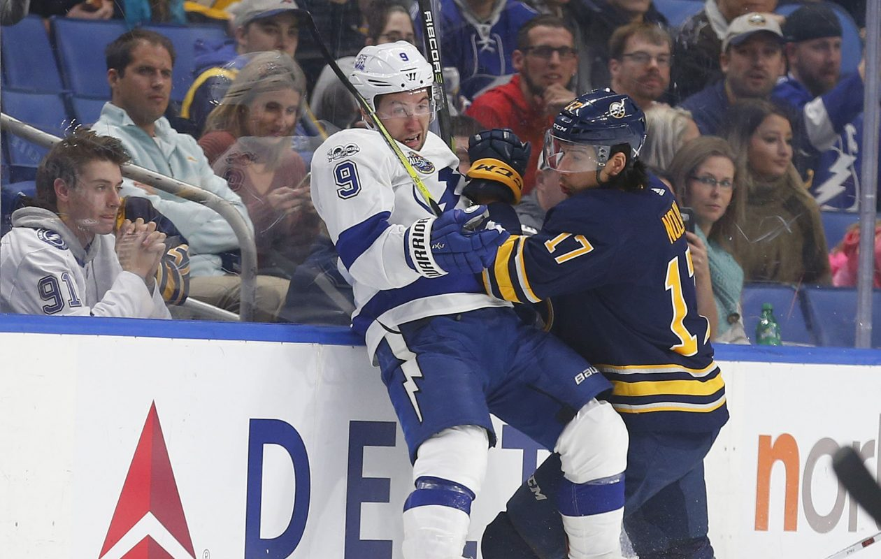 Jordan Nolan's physical play, including a hit on Tampa Bay's Tyler Johnson on Tuesday, has impressed Sabres coach Phil Housley. (Mark Mulville/Buffalo News)
