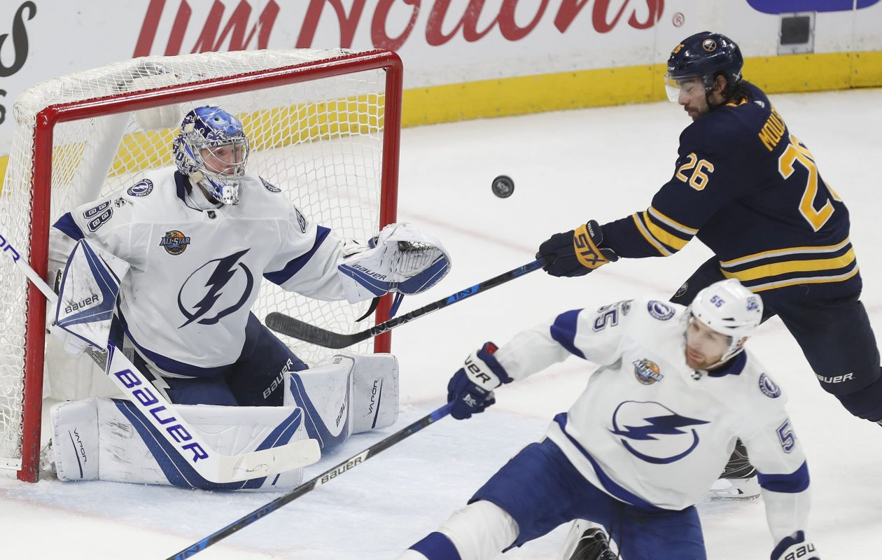 Tampa Bay goaltender Andrei Vasilevskiy saw most of the shots taken by Matt Moulson and the Sabres. (Mark Mulville/Buffalo News)