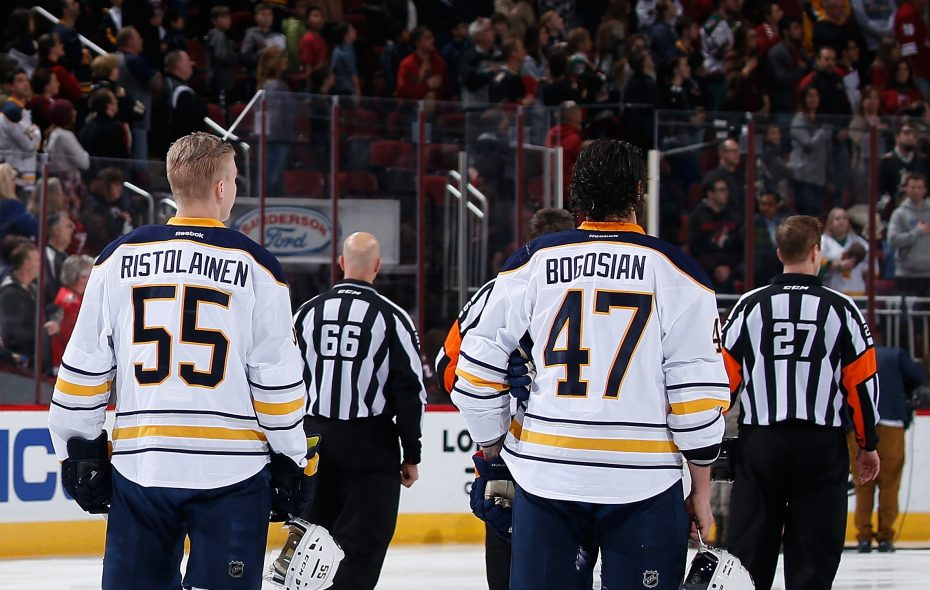 It might not be long before Rasmus Ristolainen and Zach Bogosian rejoin the Sabres' lineup. (Getty Images)