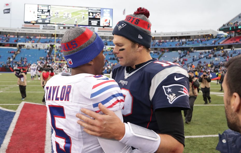 Tom Brady leads the big,  bad New England Patriots to town Sunday to face Tyrod Taylor and the Buffalo Bills. (Getty Images)