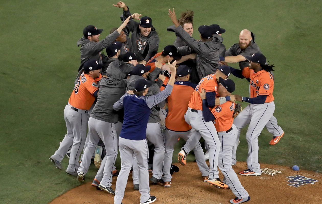 The Houston Astros beat the Los Angeles Dodgers, 5-1, in Game 7 of the World Series, but the local ratings paled in comparison to last year's epic tussle. (Sean M. Haffey/Getty Images)