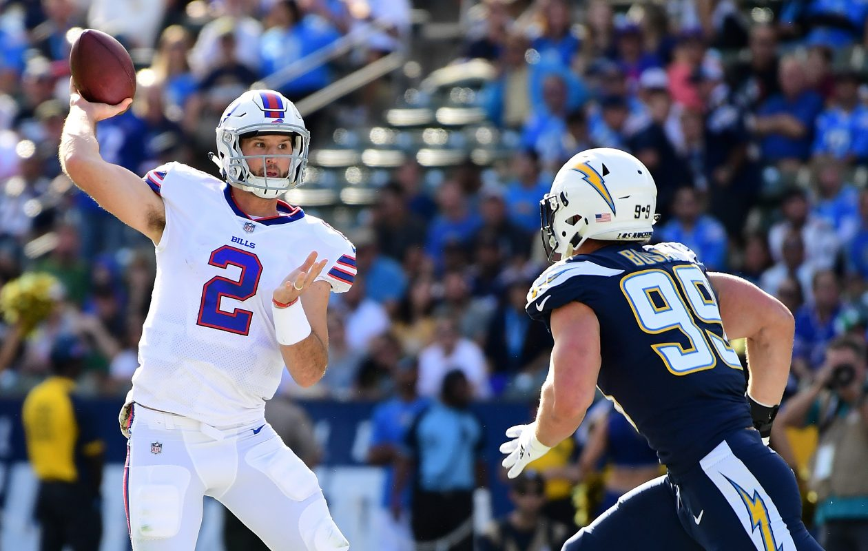 Nathan Peterman of the Buffalo Bills throws a pass during the first quarter of the game against the Los Angeles Chargers at the StubHub Center on Nov. 19, 2017. (Getty Images)