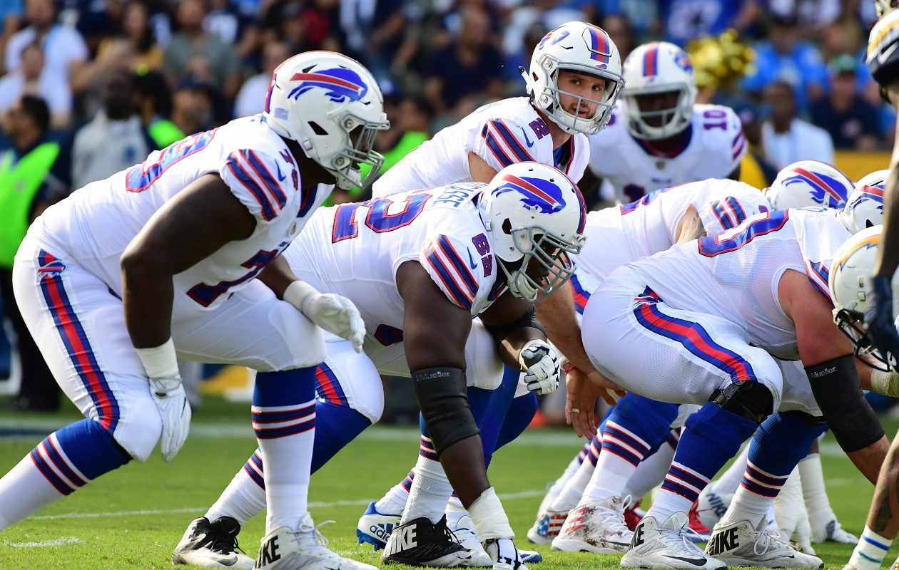 Nathan Peterman of the Buffalo Bills prepares for the snap during the second of the game against the Los Angeles Chargers at the StubHub Center on Nov. 19, 2017. (Getty Images)
