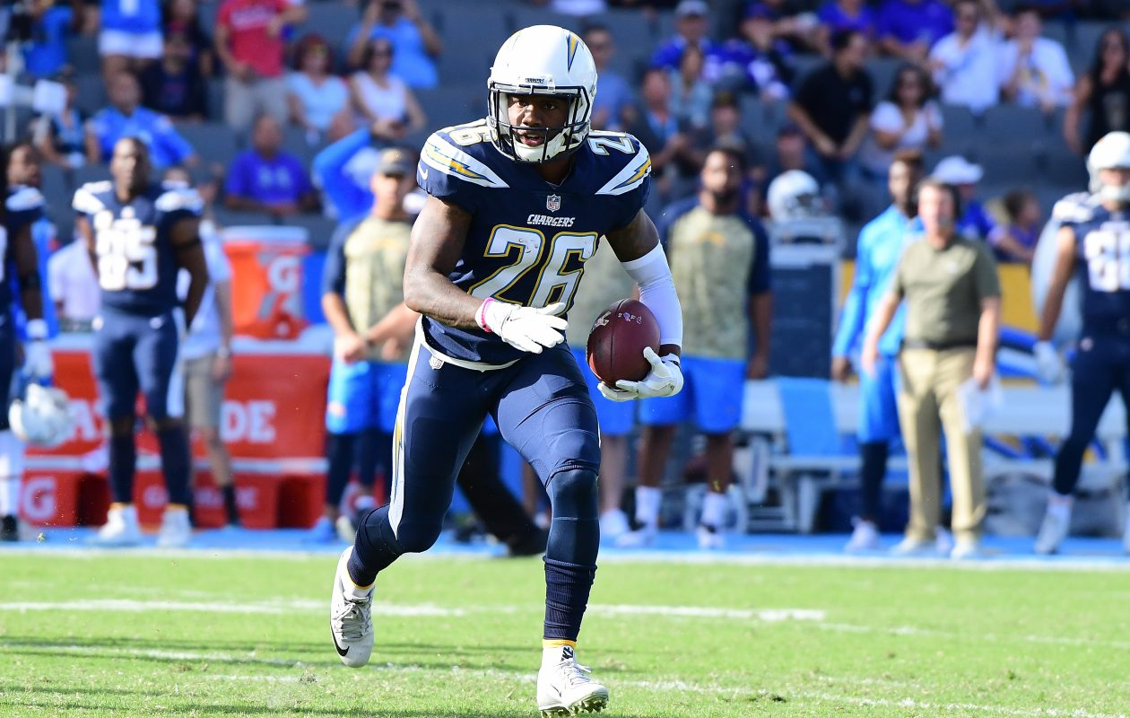 Casey Hayward of the Los Angeles Chargers returns an interception.  (Getty Images)